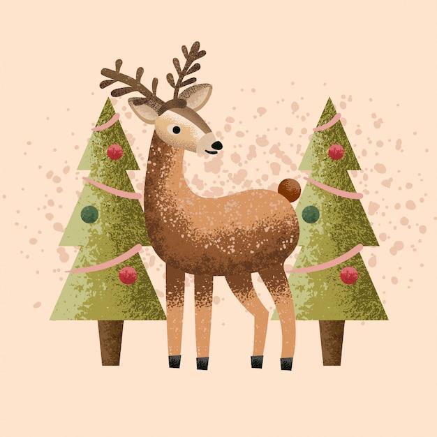 Deer christmas illustration Premium Vector
