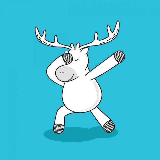 Deer doodle cartoon. Premium Vector