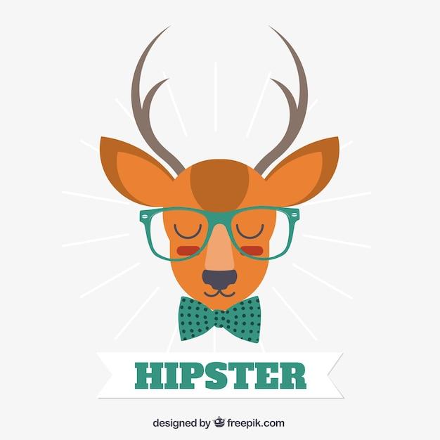 ヒップスタースタイルのベクトルを着て鹿 無料ベクター