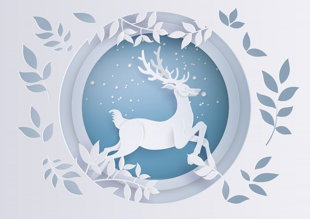 Deer in forest with snow in the winter season and christmas. Premium Vector