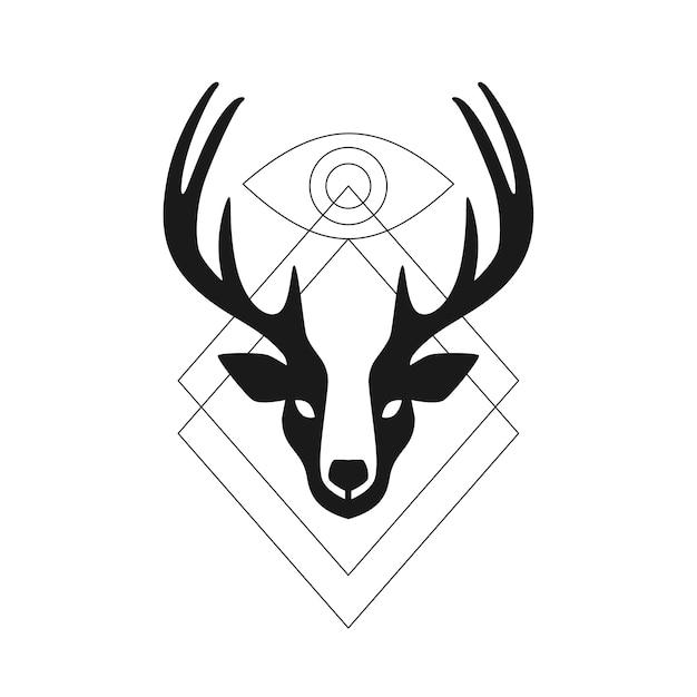 Deer Head Antler Eye Geometric Logo T Shirt Artwork Vector Premium