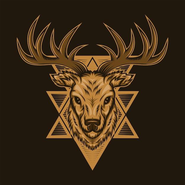 Deer head badge vector illustration Premium Vector