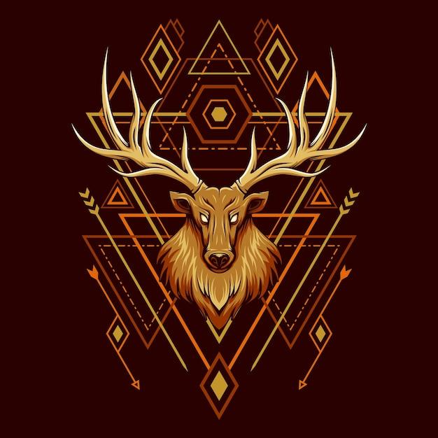 Deer head geometry illustration Premium Vector