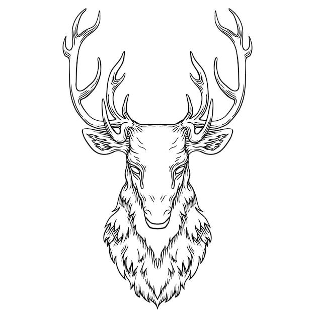 Deer Head Illustration, Drawing, Engraving, Ink Line Art