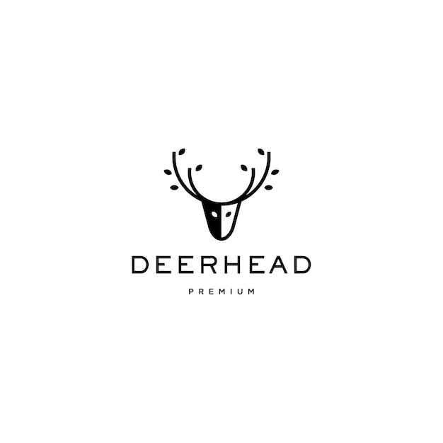 Deer head logo icon Premium Vector