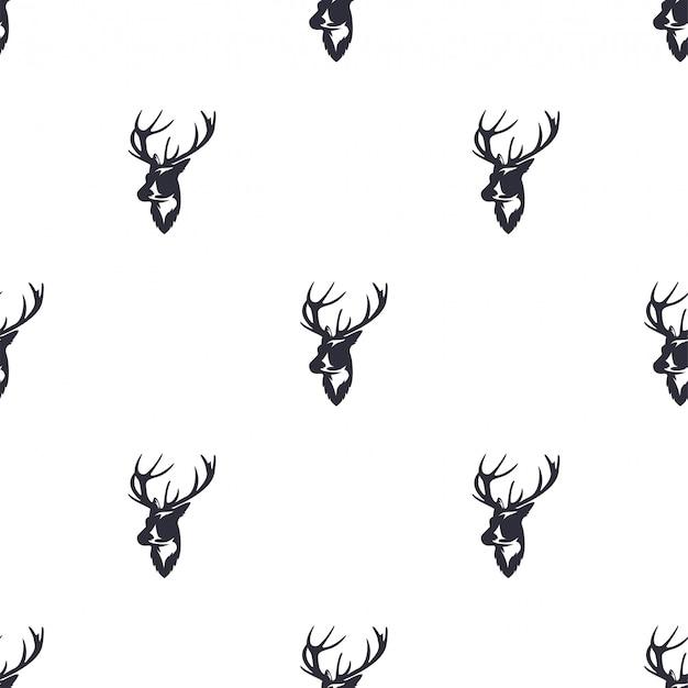 Deer head seamless pattern. wild animal reindeer. retro wallpaper. Premium Vector