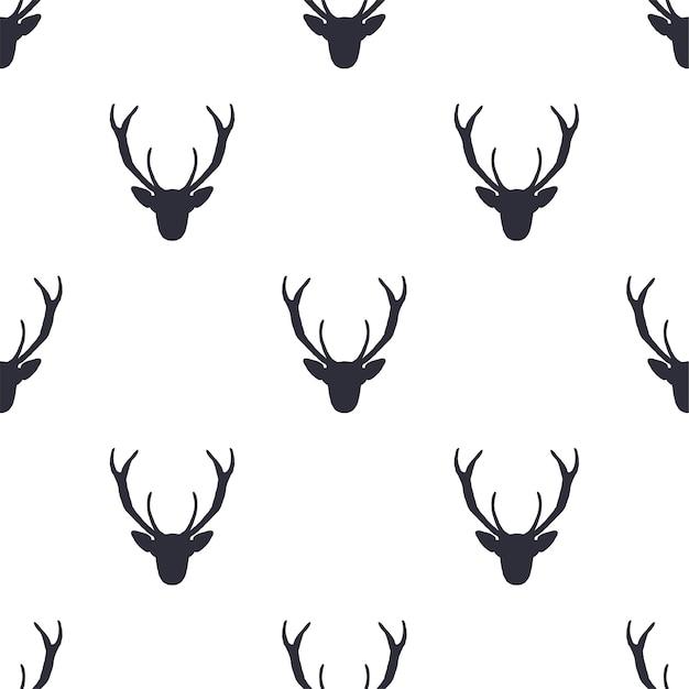 사슴 머리 완벽 한 패턴입니다. 프리미엄 벡터