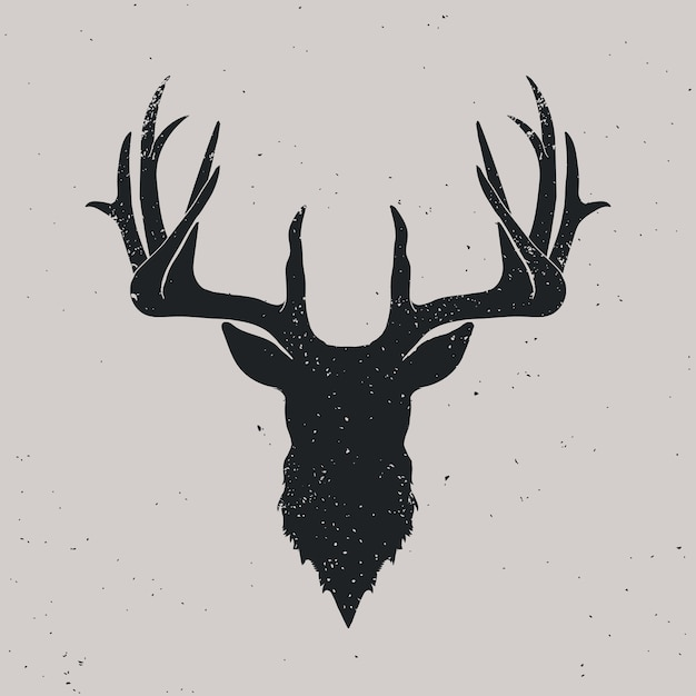 Deer head silhouette Premium Vector