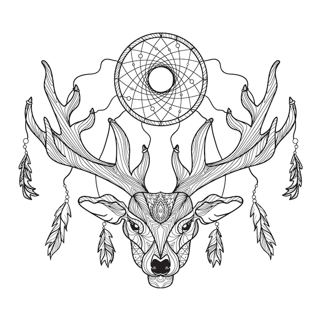 Deer head with horns and dreamcatcher for t-shirt Premium Vector