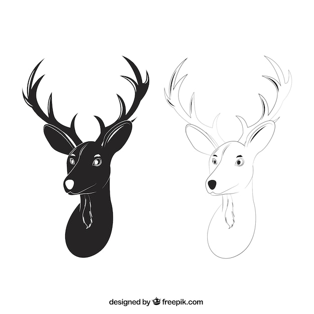 Deer heads in hand drawn style Free Vector