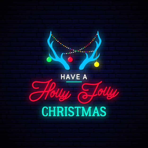 Deer horns with decorative garlands in neon style. Premium Vector