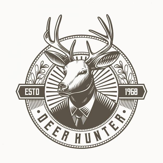 Deer hunter logo талисман Premium векторы