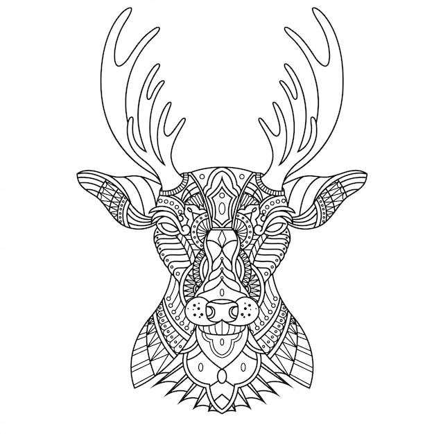 直線的なスタイルの鹿 Premiumベクター