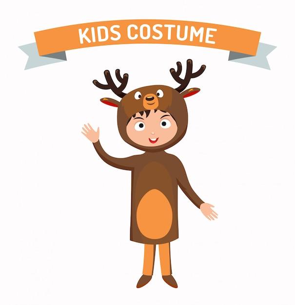 Deer kid costume isolated vector illustration Premium Vector