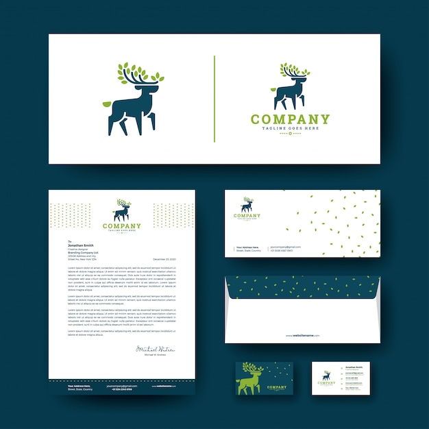 Deer logo with corporate stationery template Premium Vector