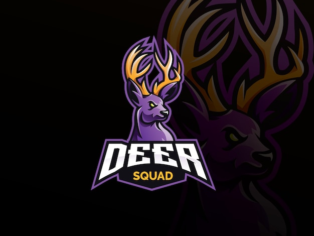 Deer mascot sport logo Premium Vector