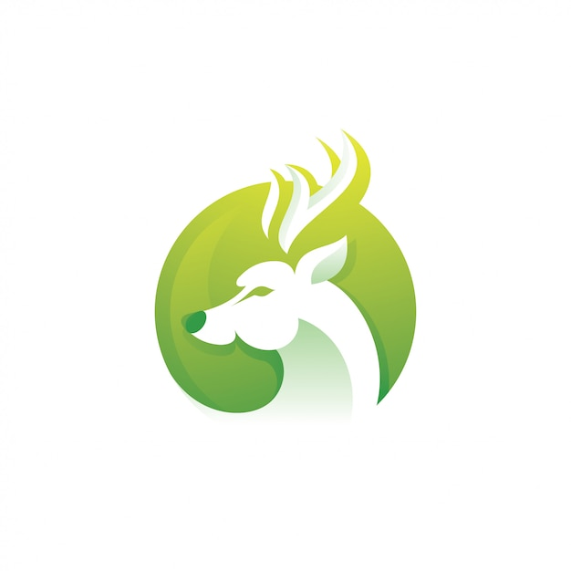Deer roe antelope logo illustration Premium Vector