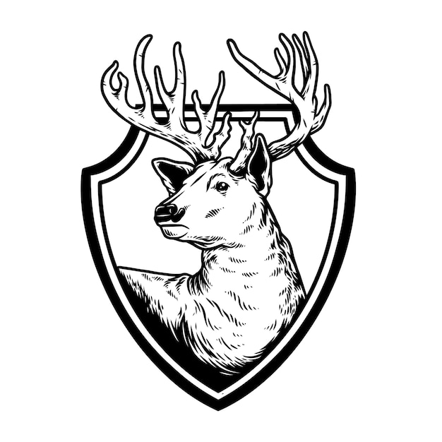 Deer shield Premium Vector