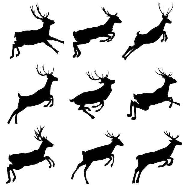 Deer silhouettes set Premium Vector