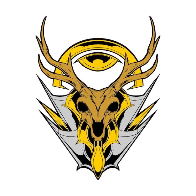鹿の頭蓋骨のイラスト Premiumベクター