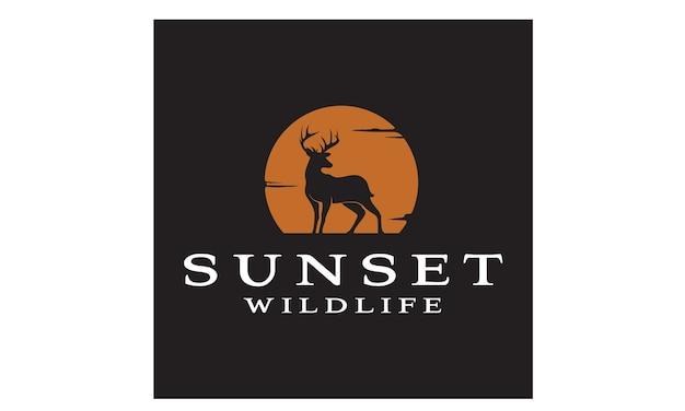 Deer sunset logo design inspiration Premium Vector