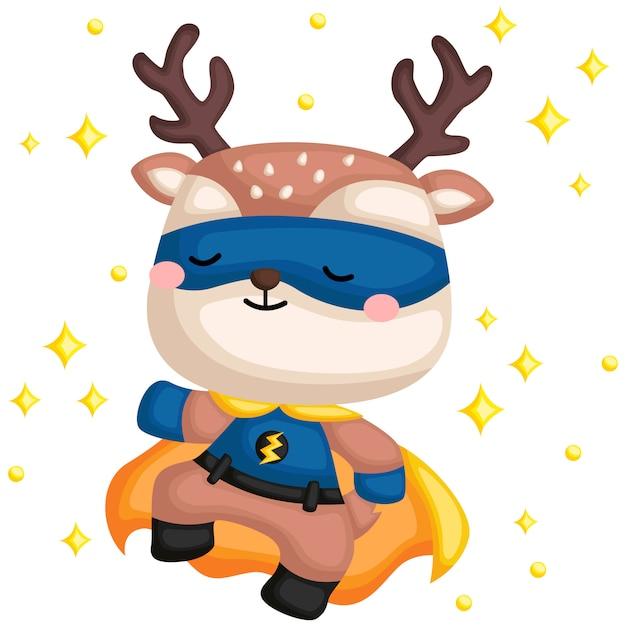 Deer superhero Premium Vector