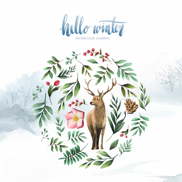 Deer surrounded by winter bloom watercolor vector Free Vector