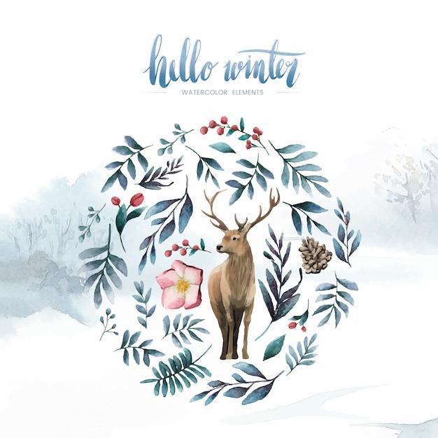 Deer surrounded by winter bloom watercolor vector Free Vector