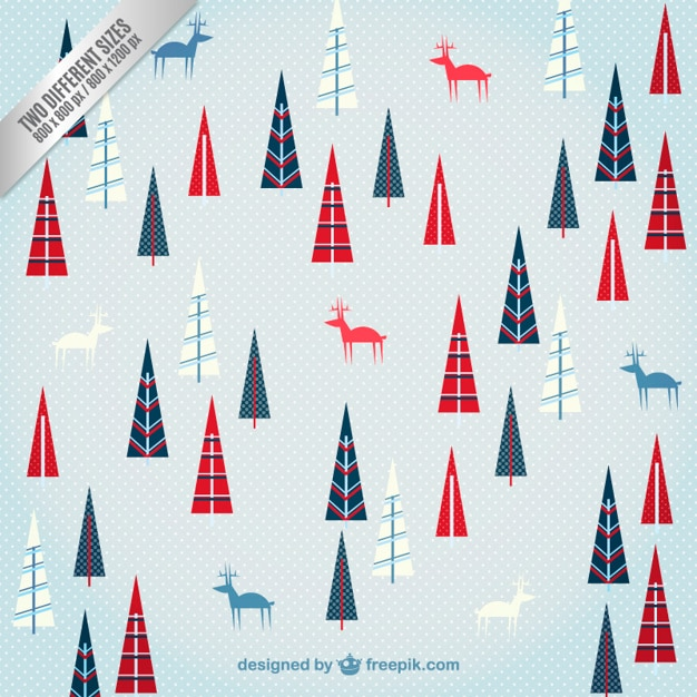 Deer and trees christmas pattern Free Vector
