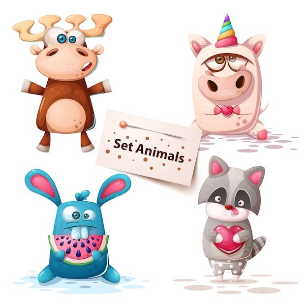 Deer, unicorn, rabbit raccoon - set animals Premium Vector