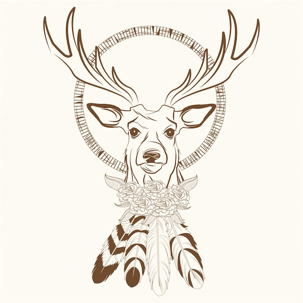Deer with dream catcher with feathers Premium Vector
