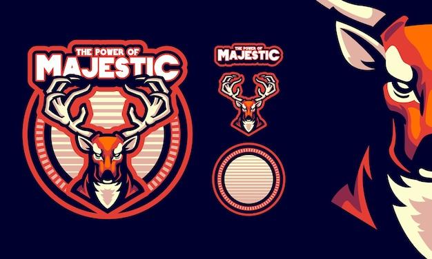 Олень с сильными рогами талисман логотип Premium векторы