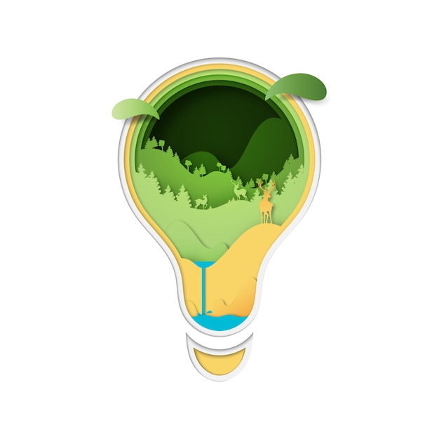 Deers in the forest and nature concept in light bulb. Premium Vector