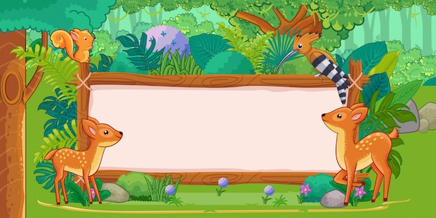 Deers with a blank sign wood in the jungle Premium Vector