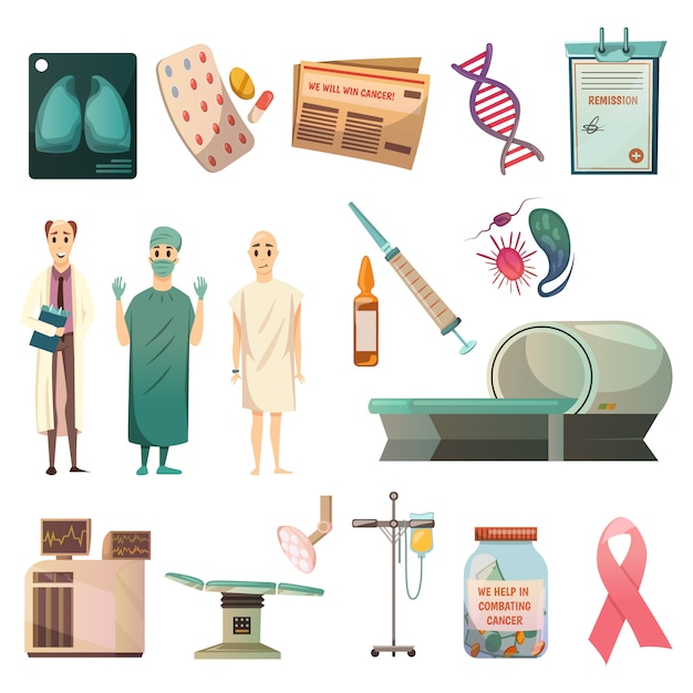 Defeat cancer orthogonal icons set Free Vector