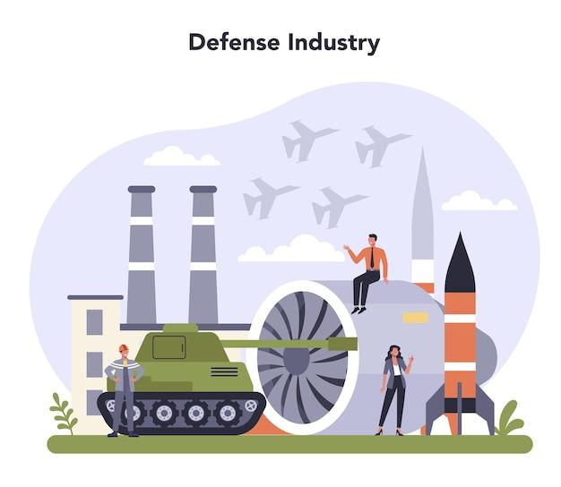 防衛産業セット。軍事生産と技術。 Premiumベクター