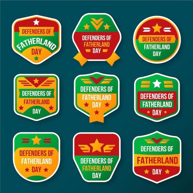 Collezione di badge per i difensori della patria Vettore gratuito