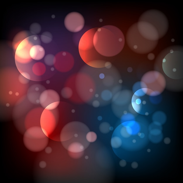Defocused bokeh lights background. bright blur abstract effect, shiny pattern round, Free Vector