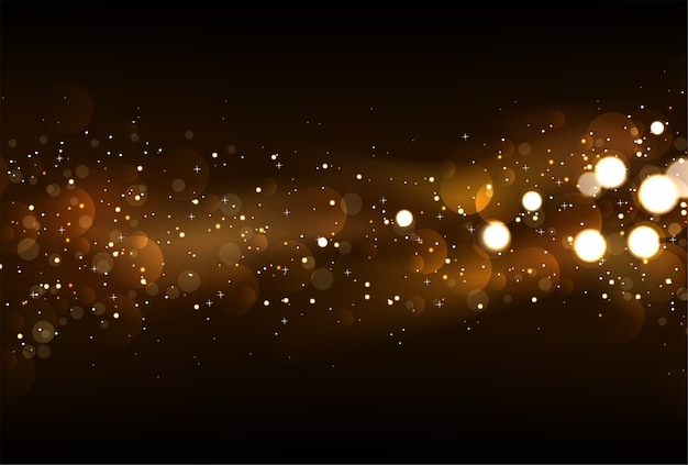Defocused glitter lights background in dark gold and black colors. Premium Vector