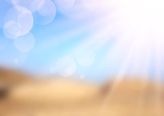 Расфокусированные летний пейзаж с солнечными лучами Бесплатные векторы