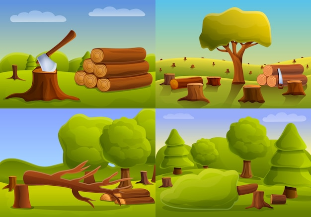 Deforestation forest banner set cartoon style Vector