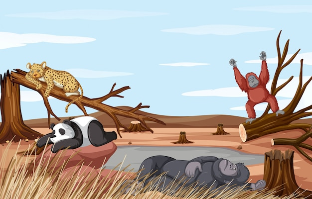 Deforestation scene with animals dying from drought Free Vector