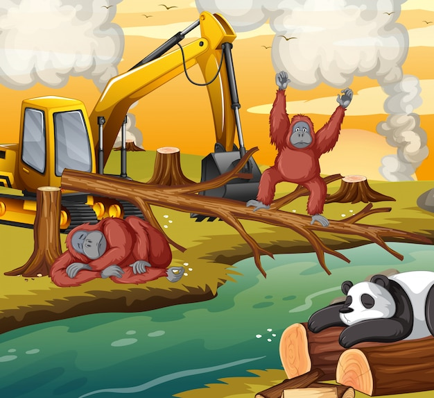 Deforestation scene with animals dying Free Vector