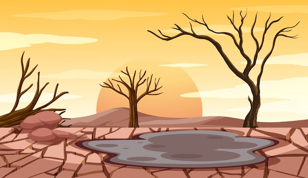 Deforestation scene with drought land Free Vector