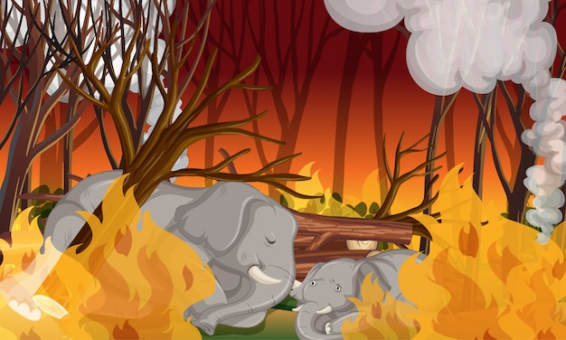 Deforestation scene with dying elephant Free Vector