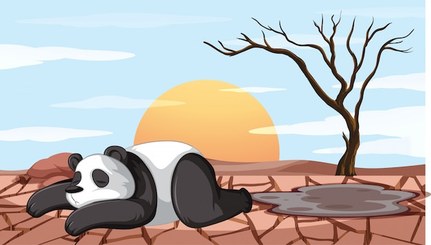 Deforestation scene with dying panda Free Vector