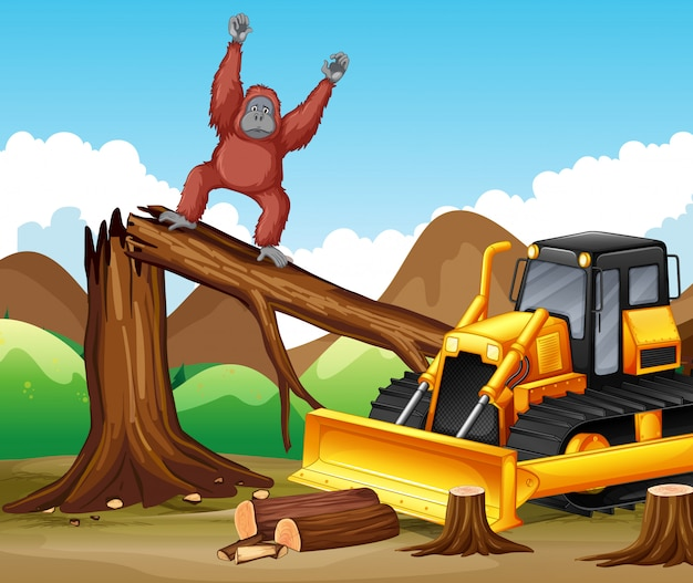 Deforestation scene with monkey and bulldozer Free Vector