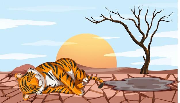 Сцена обезлесения с тигром, умирающим от засухи Бесплатные векторы
