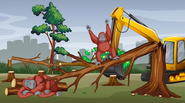 Deforestation scene with tractor cutting trees Free Vector