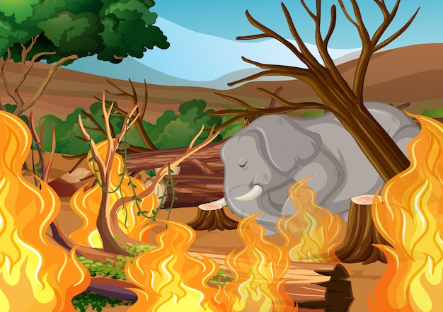 Deforestation with elephant and wildfire Vector Free